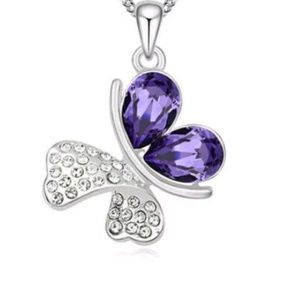 Purple Crystal Butterfly Pendant & Necklace Jewelr